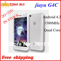 "Jiayu G4 Advanced black Smart Phone 4.7"" HD Quad Core Android 4.2 MTK6589T 13MP 2GB + 32GB 3000Mah free shipping  in stock"