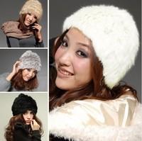 White/ black /Grass yellow/grass gray farms REX RABBIT Fur Knit Hat