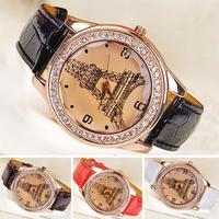 Wholesale 3Pcs/Lot Quartz The Tower Crystal Synthetic Leather Bracelet Watch Unisex Wrist Watch 4 Colors 18450