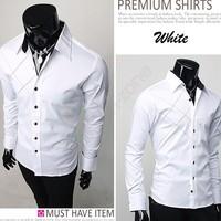 Big Sale! 2014 Spring Mens Slim Fit Unique Neckline Stylish Dress Long Sleeve Shirts Mens Dress Shirts 3276