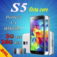 "Fingerprint S5 Phone G900 PHONE 2G RAM smart phone MTK6592 Octa Core mtk6582 Quad Core 5.1"" IPS Android 1:1 I9600 cell phones"