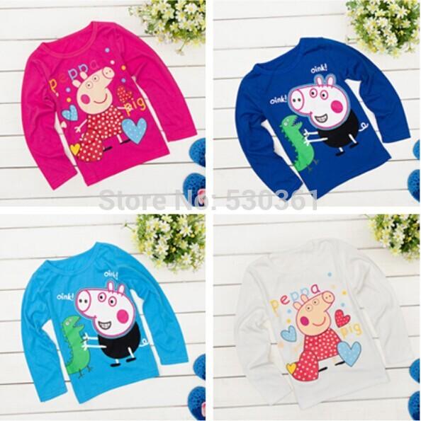 New 2015 Children Peppa Pig T Shirts, Girls Boys' t-shirts, Kids Long Sleeve Tee Cotton Baby Clothing hot sale Free Shippnig(China (Mainland))