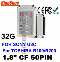 """Hot Kingspec 1.8"""" IDE 50PIN CF Interf SSD Solid State Drive Disk  32GB HDD Hard Drive For SONY For HP For Toshiba R100 R200 HDD"""