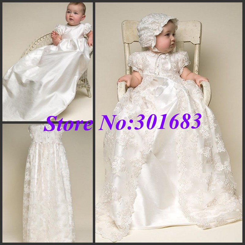 CH001 New Hot Sale Imitated Silk Lace Baptism Christening Dress Baby Christening Gown In Stocks(China (Mainland))