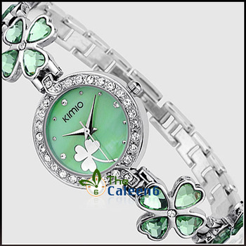 2013 Hot Sale Brand  Kimio  Stainess Steel Strap Leaf Clover Lady Fashion High Quality Luxury Lady  Watch  Free Shipping K456L