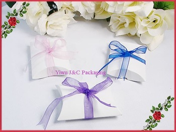 FREE SHIPPING--White Wedding Pillow Shape Candy Boxes,Wedding Favor Box, Party Gift Box, Paper Box(JCO-76)