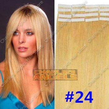 16, 18, 20, 22, 24 inch 100% Natural Hair, Remi Hair, Tape Hair Extension #24 Blonde ...