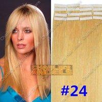 16, 18, 20, 22, 24 inch 100% Natural Human Hair, Remi Hair, Tape Hair Extension #24 Blonde Color 20pcs/set 19 Colors Optional