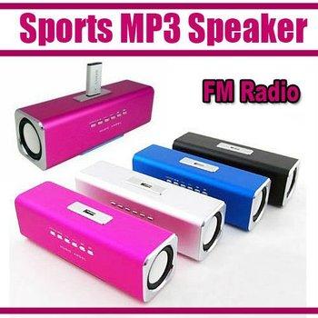 Sports MP3 Player Mini Mobile Music Speaker Portable Sound box Boombox with TF Card reader USB + FM Radio -UK2