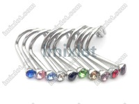 Free Shipping Gem Nose Rings Mixed Colors Nostril Nose Ring Screw Studs Body Piercing Jewelry 100pcs/lot
