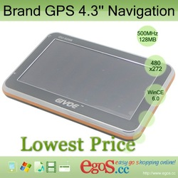 Brand GPS 4.3'' Navigation for Car with 4GB/128MB Storage and IGO Maps + WinCE 6.0 OS + Free Shipping(China (Mainland))