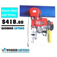 Free Shipping!!!220V,50HZ 300-600kg x 20m complete unit type Electric Wire Hoist with trolley