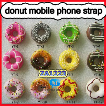 WHOLESALE Mobile Phone Strap Donut Squishy Charm Pendant Sweet Keychain Fashion Cake Promotion Kids Gift 30pcs/lot say hi 1223