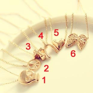 Cheapest Price!  Gold Necklace Pendant,A Variety of Styles Skull,anti-war,cross bones, love, wings Necklace 66D042
