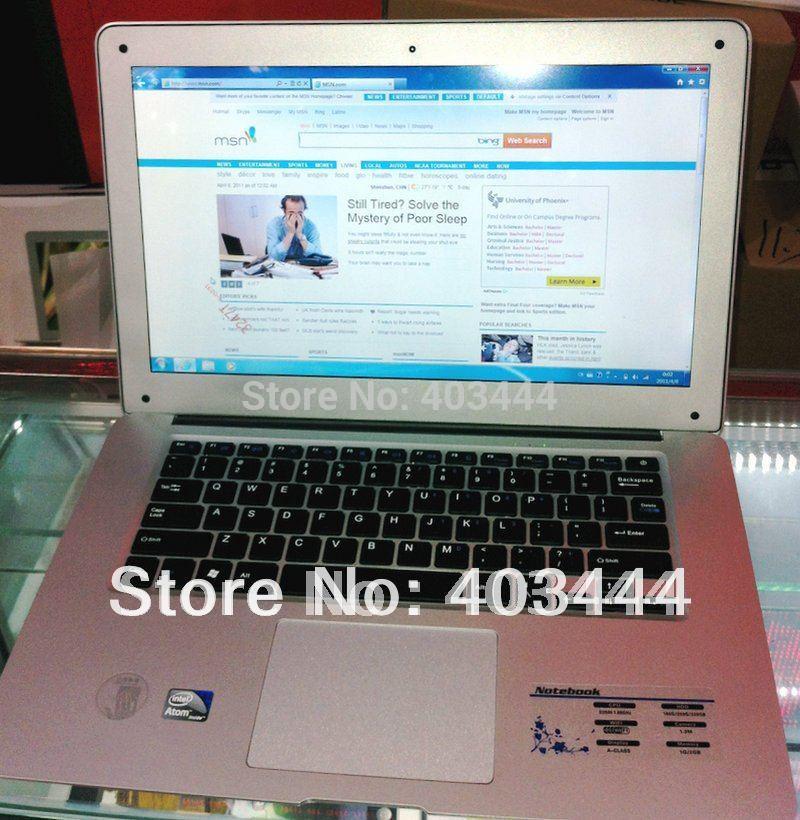 14 Inch Laptop Intel Atom D2500 Dual Core 1.86Ghz 2GB RAM 320GB HDD Super Slim Netbook WiFi Webcam Notebook PC free shipping(China (Mainland))