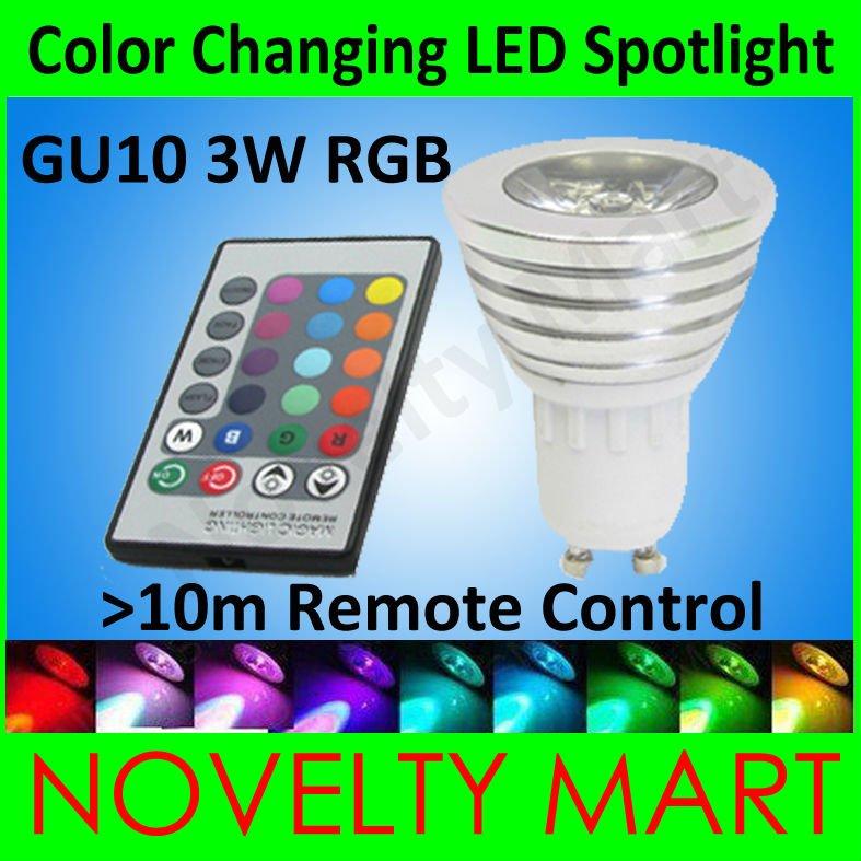 3pcs/lot GU10 3W RGB Colour changing spotlight Change color LED Bulb Light Lamp 16 Colors 4 modes Free Shipping(China (Mainland))
