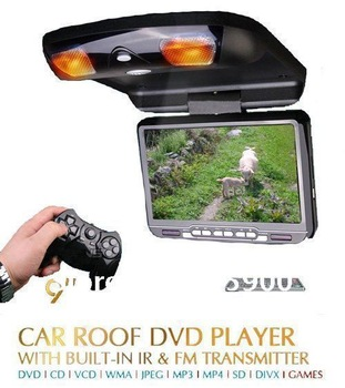 Durable 9 inch Car flip down/roof mount DVD player with USB/SD/IR/FM transmitter/32bits Games, RMVB Supported