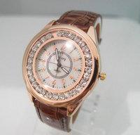 Wholesale women wristwatches ladies fashion leather strap quartz watch rhinestone Women dress watches  EW41