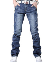 Free shipping 2014  New Men's Jeans Slim Fit Straight Trousers Zipper Style  dropshipping F445
