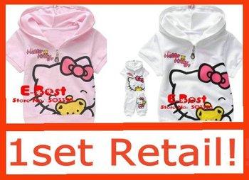 [E-Best] Retail1set girl cartoon Kitty clothing set baby short sleeve tracksuit t-shirt+pants 2 pcs kids fashion suits E-SSR-006