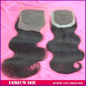 No process hair body wave top lace closure natural color 4*4