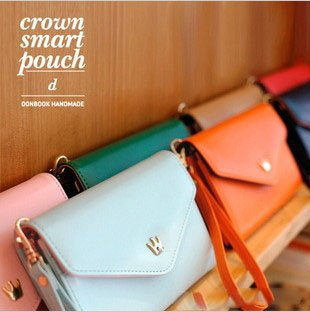 Freeshipping/Korea Style iconic New Design Crown Smart Pouch Phone Bag Card Bag Seven Colors Fit for iphone LG HTC etc./B008