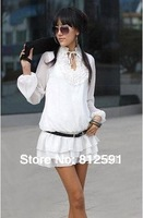 Free Shipping Good Quality Gathered Design Neckline Chiffon Lace Decoration Layered Dress Lady Dress