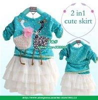 2014 spring wholesale girls clothes lot baby girl ruffle dress Long style Tutu Dress Swan design girls Princess Baby Frocks