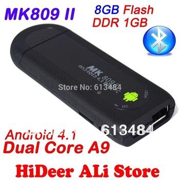 MK809 II Android 4.1 Mini PC TV Stick Rockchip RK3066 1.6GHz Cortex A9 Dual core 1GB RAM 8GB Bluetooth MK809II 3D TV Box