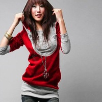 2013 Korea Women's Sweatershirts Fashion Long Sleeve Shirt Cotton Hoodies Coat Outerwear Black&Gray free shipping2312
