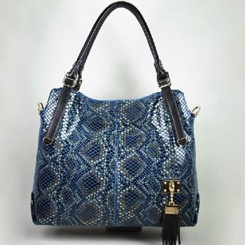 100% GENUIINE LEATHER Designer Handbags Fashion 2014 New Luxurious Snake Grain Shoulder Bags For Women With Tassel SN17
