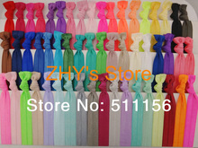 Assorted 54colors 100pcs/lot Fold Over Elastic Hair Ties bracelet wristbands for girl ponytail holder Hair Accessories(China (Mainland))