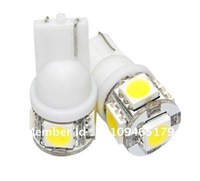 Free shipping 500pcs 12V Car led light auto lamp T10 5 led smd 5050 W5W 194 T10 5SMD in white width Interior light