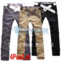 4Pcs/Lot New Style Men's Casual Pants Fashion Designed Trousers Straight Long Pants  4 Sizes(China (Mainland))