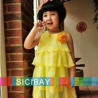 Free shipping flower design Girl Party Dress Kids tutu white pink Children Summer Clothing baby dresses K0133