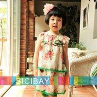 Little Girls Flower Dress Free Shipping Kids Clothing Little Girls Flower Dress Chiffon Flower Print Tiered Dress  K0136