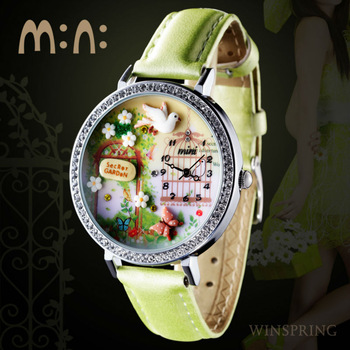MW-005 Wholesale Korea Fashion Polymer Clay Handmade Genuine Leather Quartz Lady Mini Watch