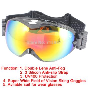 Snow Snowboard Ski Goggle Double Lens Anti-Fog UV400 Protection CE Snow goggles 3 Silicon Anti-slip Free Shipping
