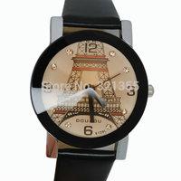 Free Shipping Relogio Feminino Original Fashion Eiffel Tower Watch Women girls 2014 Ladies PU Leather band Dress Quartz Watches