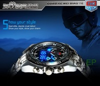 2013 TVG Hight Quality Stainless Steel Men's Clock Fashion Blue Binary LED Pointer Watch Mens 30AM Waterproof Watches