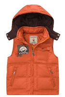 Freeshipping Winter coffe green orange  Children Boy Kids baby duck down detachable hoody hooded vest feather vest PDDS11P11
