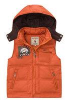 Freeshipping Winter coffe green orange  Children Boy Kids baby duck down detachable hoody hooded vest feather vest PDDS11P11