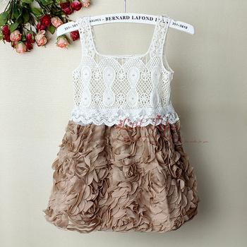 2013Fashion Baby Girl Dresses Rose Children Pink Lace Flower Dress Princess Kids Desses  party dresses 5PCS/LOTS GD21020-01^^LM