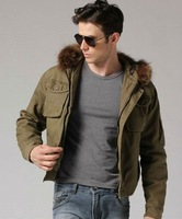freeshipping autumn winter army green 3 color man military style detachable hooded casual cotton jacket coat outwear WM820