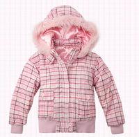 OK Freeshipping Autumn winter pink cute Children Child girl Kids baby Plaid hoody hooded short coat jacket outwear top WM1433