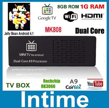 MK808 Android 4.1.1 Jelly Bean Mini PC RK3066 A9 Dual Core tv Stick  free shipping drop shipping