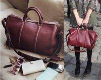 2013 free shipping new Leather Brand handbag red wine/black  Promotions popular handbags,Leather shoulder handbags