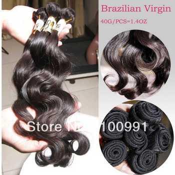 Manka:2013NEW! 5A Grade 10-30inch #1B100% Unprocessed Brazilian Virgin Hair Body Wave Human Hair Extenson Weave 40g/pc 1pc=1.4oz