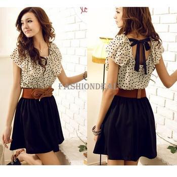 Women's Summer New Fashion Dress Short sleeve Dots Polka Waist (with blet) free shipping 2792