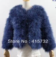 Free Shipping 2014 Fashion Real Ostrich Women Jacket Wool Outerwear Short Fur Coat Plus Size Thick Winter Deluxe Ladies Overcoat